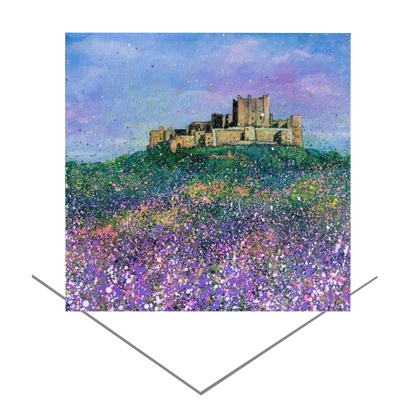 Bamburgh Castle Flowers Greeting Card