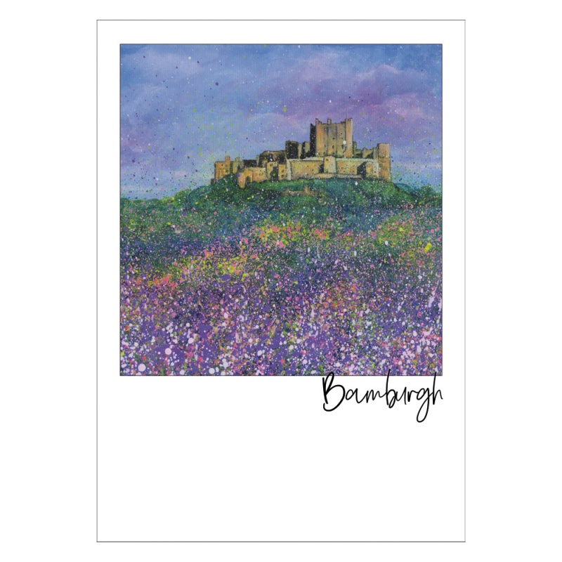 Bamburgh Castle Flowers Post Card