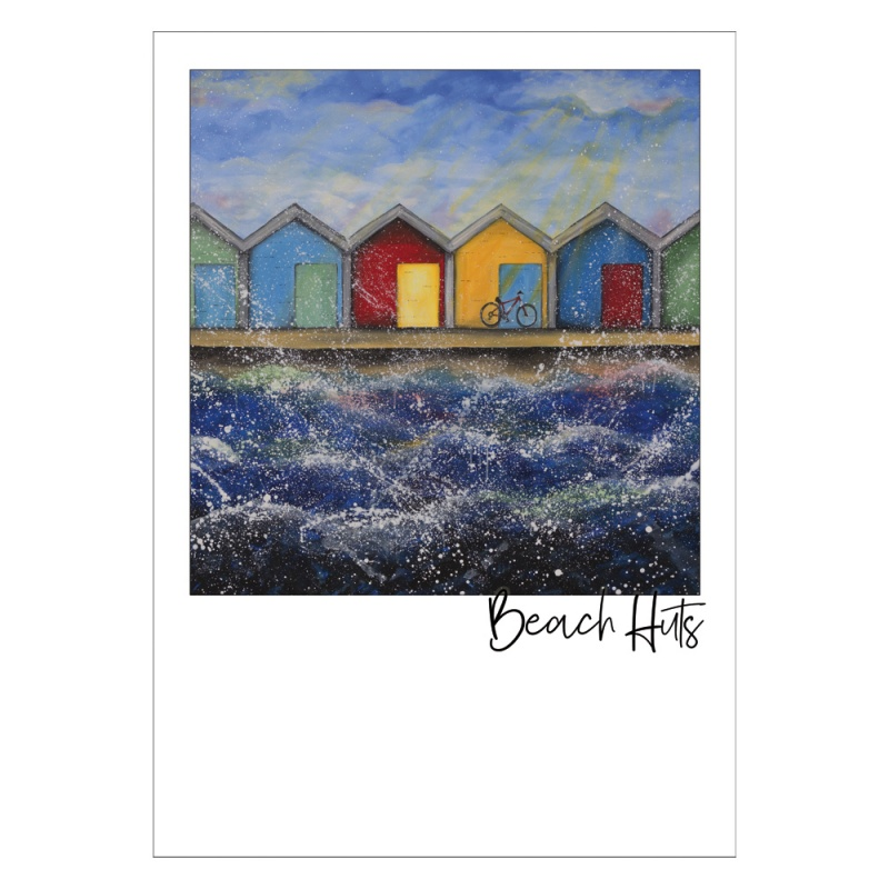 Beach Huts Sunshine Post Card