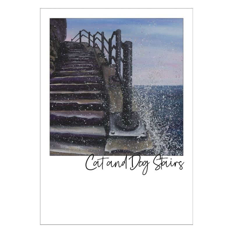 Cat and Dog Stairs Post Card