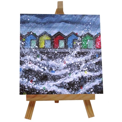 Blyth Beach Huts Tile with Easel