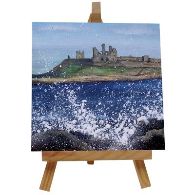 Dunstanburgh Castle Tile with Easel
