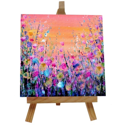 Flowers Orange Tile with Easel