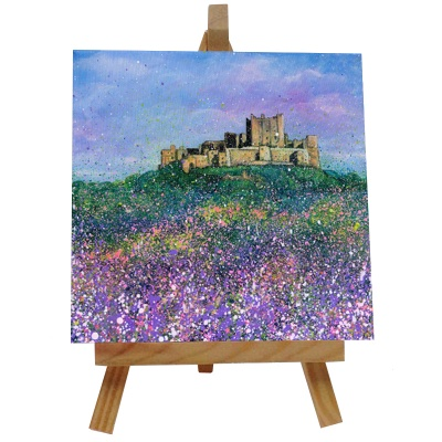 Bamburgh Castle Flowers Tile with Easel