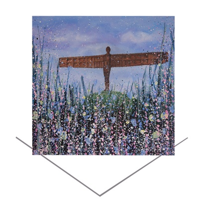 Angel of the North (Flowers) Greeting Card