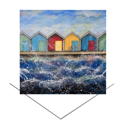 Beach Huts in Sunshine Greeting Card