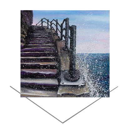 Cat and Dog Stairs Greeting Card