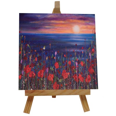 Poppies Sunset Tile with Easel