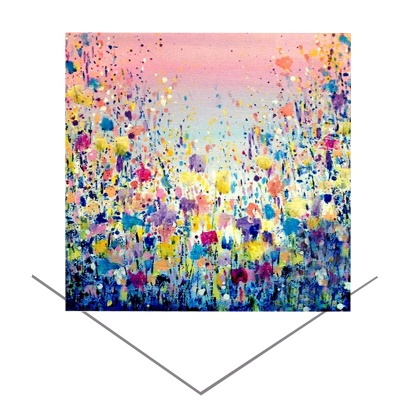 Flowers Blue Greeting Card