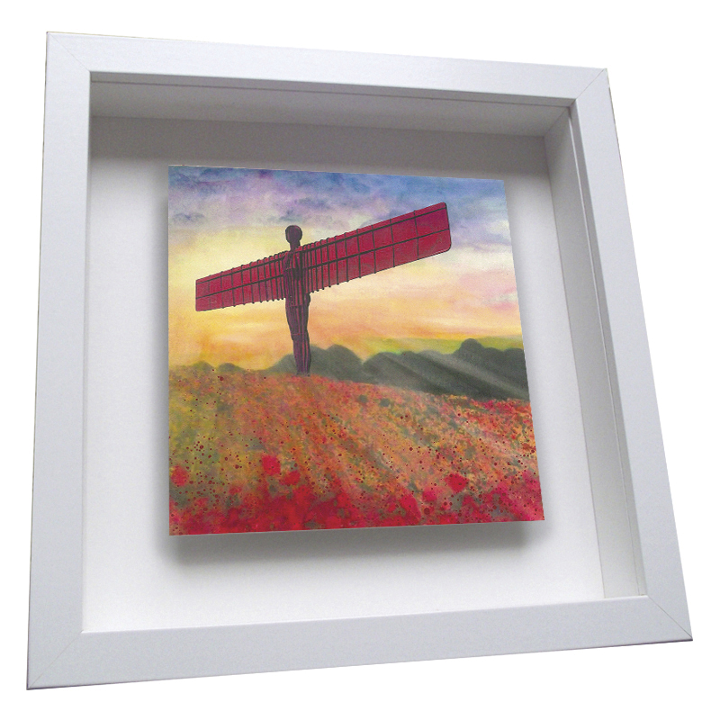 Angel of the North Poppies - Framed Tile