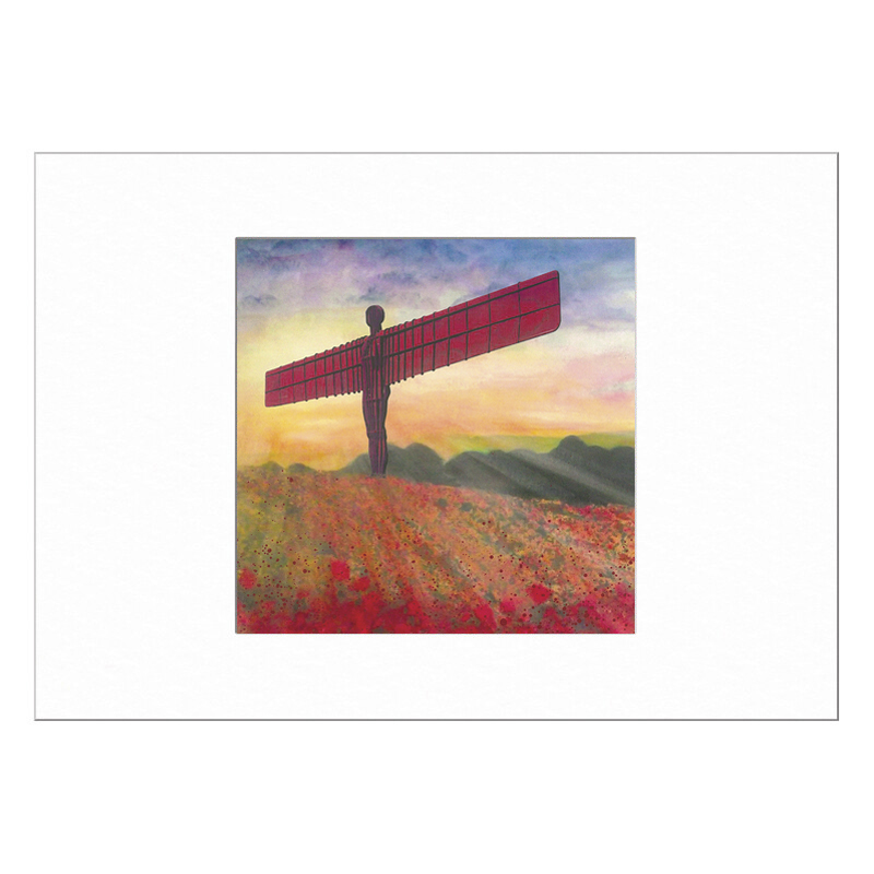 Angel of the North Poppies Limited Edition Print 40x50cm