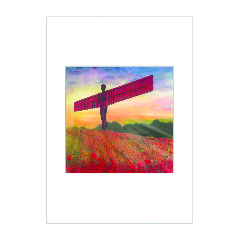 Angel of the North Poppies  Mini Print A4