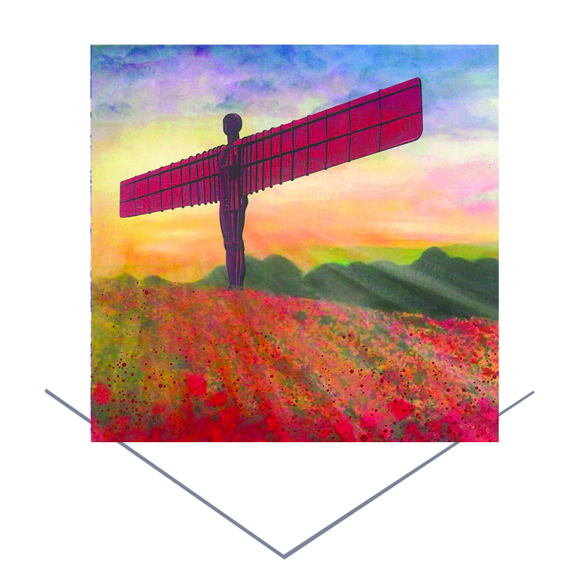 Angel of the North Poppies Greetings Card