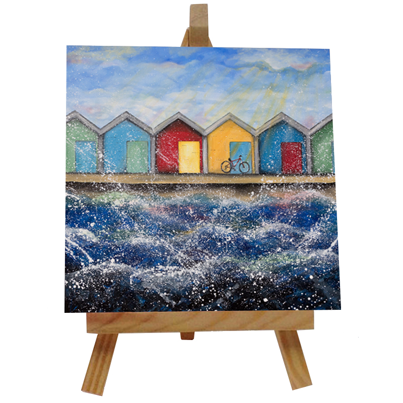 Beach Huts in the Sunshine Tile with Easel
