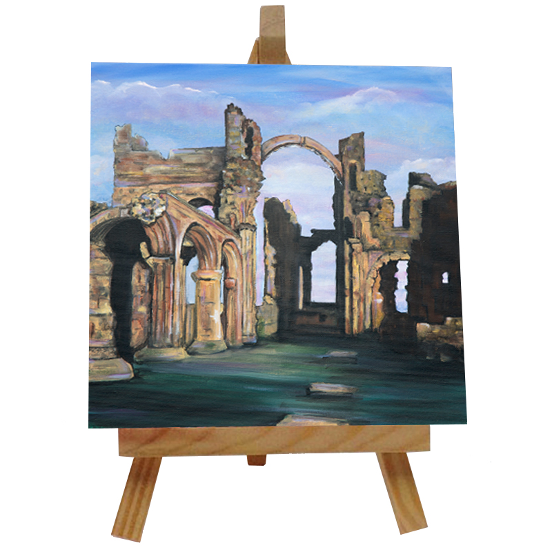 Lindisfarne Priory Tile with Easel