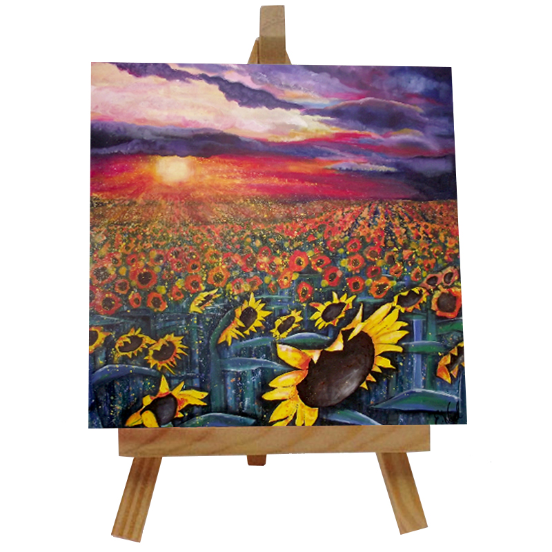 Sun on Sunflowers Tile with Easel