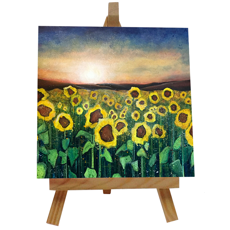 Sunflowers at Sunset Tile with Easel