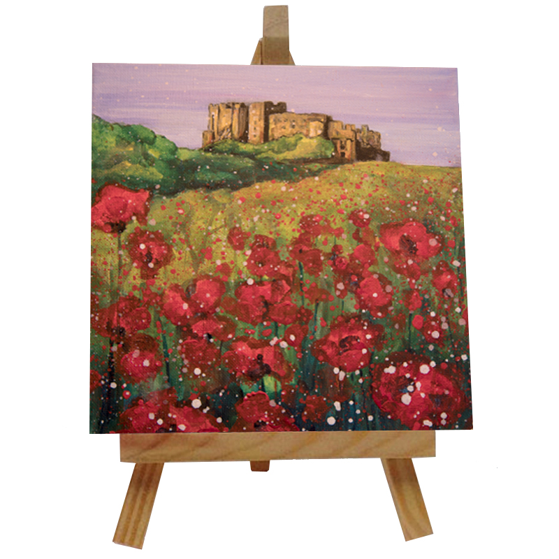 Bamburgh Castle Poppies Tile with Easel