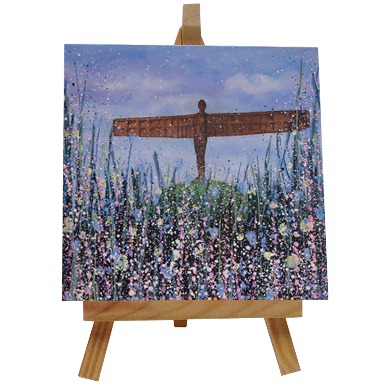 Angel of the North (Flowers) Tile with Easel