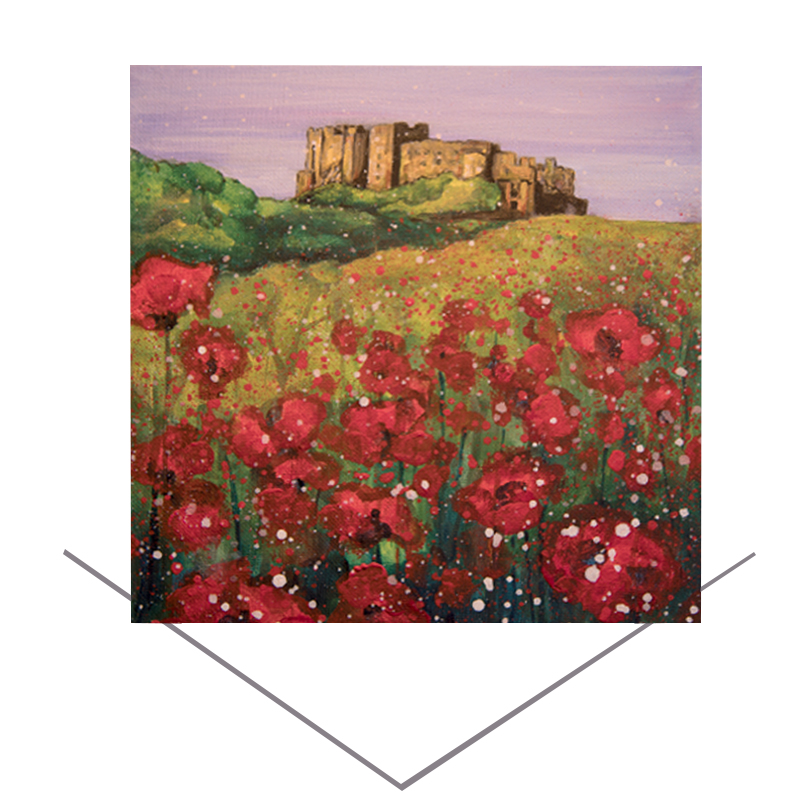 Bamburgh Castle Poppies Greeting Card