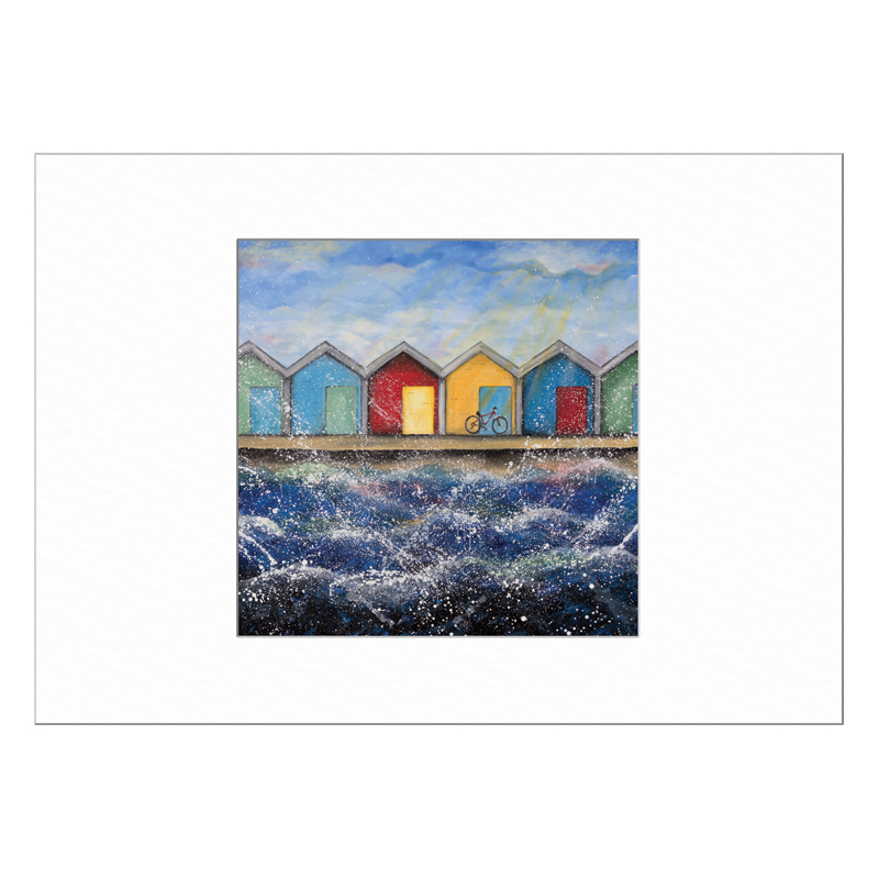 Beach Huts in the Sunshine Limited Edition Print 40x50cm