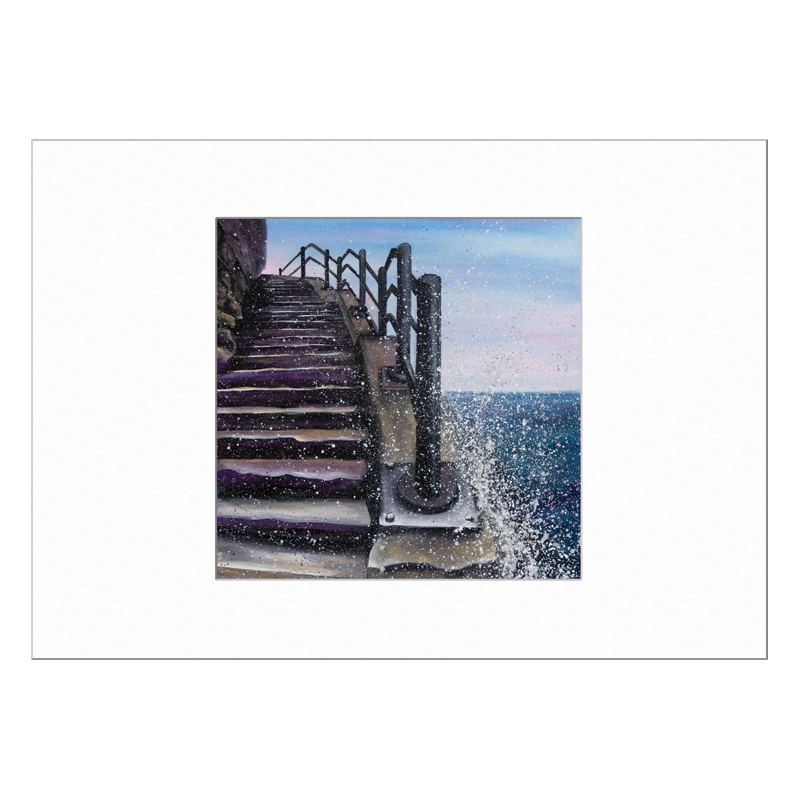 Cat and Dog Stairs Limited Edition Print 40x50cm