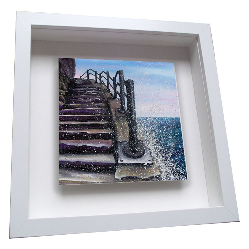 Cat and Dog Stairs - Framed Tile